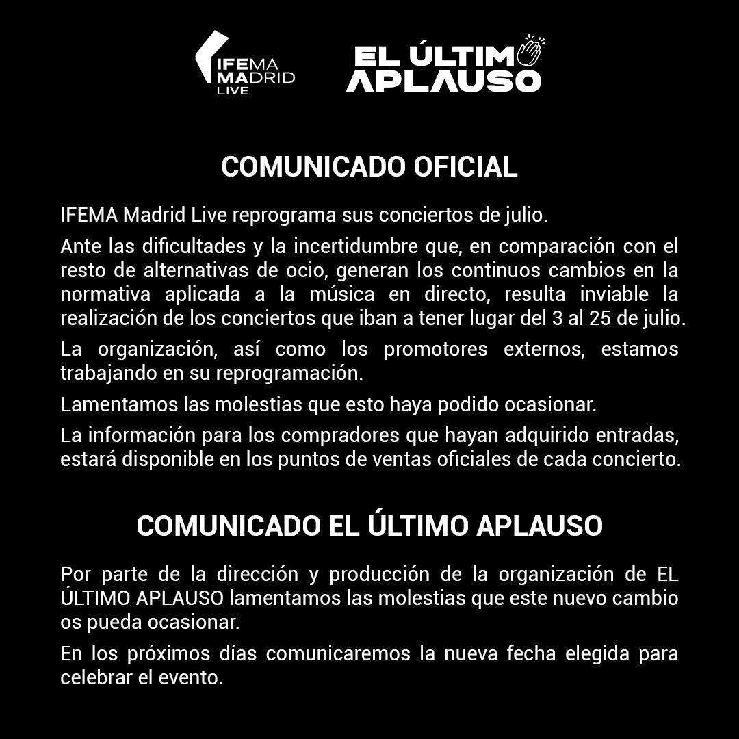 Comunicado Oficial EUA IFEMA LIVE